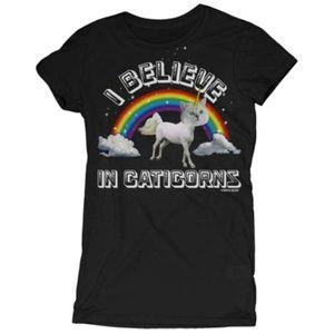 David & Goliath Rainbow Black Caticorn T Shirt - M